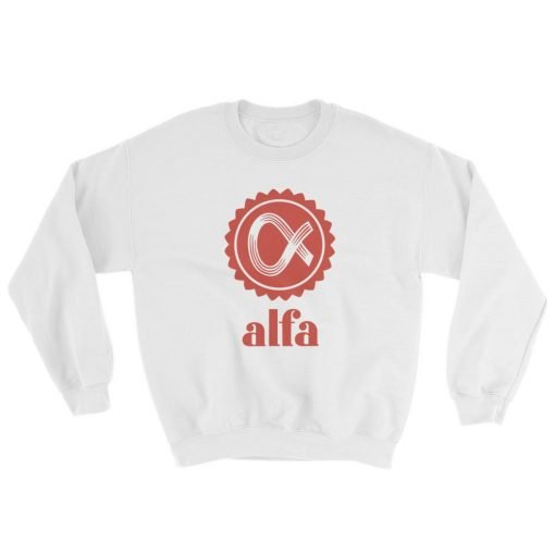 Alfa Gildan 18000 Unisex Heavy Blend Crewneck Sweatshirt Front Flat White