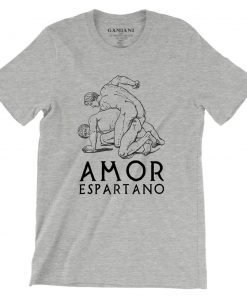 Amor Espartano Bella+Canvas 3001 Unisex T-Shirt Front Wrinckled Black on Atheltic Heather