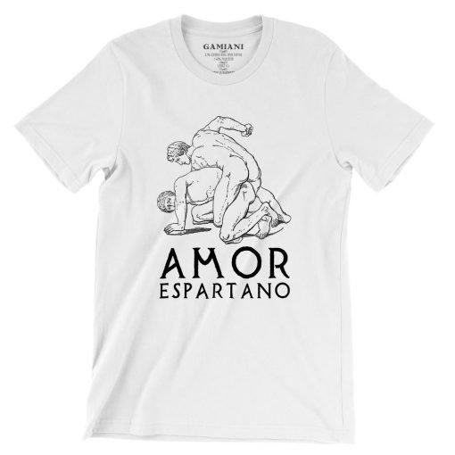 Amor Espartano Bella+Canvas 3001 Unisex T-Shirt Front Wrinckled Black on White