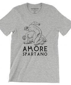Amore Spartano Bella+Canvas 3001 Unisex T-Shirt Front Wrinckled Black on Atheltic Heather