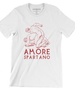 Amore Spartano Bella+Canvas 3001 Unisex T-Shirt Front Wrinckled Red on White