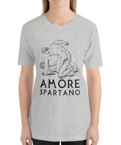 Amore Spartano Bella+Canvas 3001 Unisex T-Shirt Front Womens Black on Athletic Heather