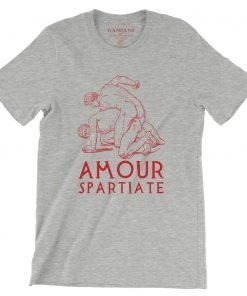 Amour Spartiate Bella+Canvas 3001 Unisex T-Shirt Front Wrinckled Red on Atheltic Heather