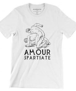 Amour Spartiate  Bella+Canvas 3001 Unisex T-Shirt Front Wrinckled Black on White
