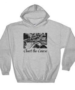 Chart The Course Gildan 18500 Heavy Blend Hooded Sweatshirt Front Flat Sport Grey