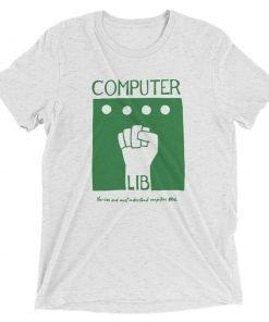 Computer Lib Green Bella+Canvas 4313 Front Flat White Fleck Triblend
