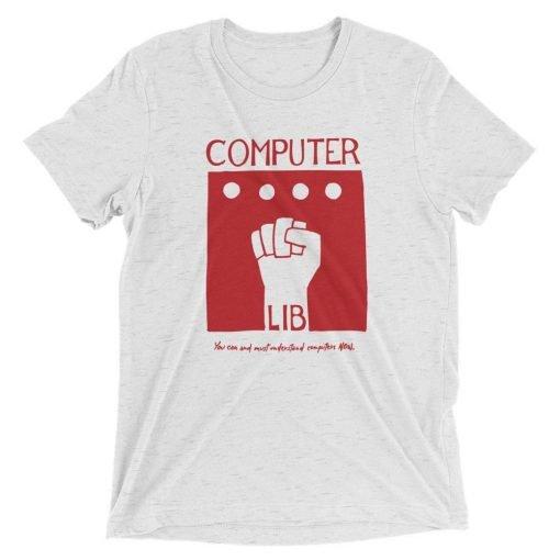 Computer Lib Red Bella+Canvas 4313 Front Flat White Fleck Triblend