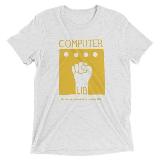 Computer Lib Yellow Bella+Canvas 4313 Front Flat White Fleck Triblend
