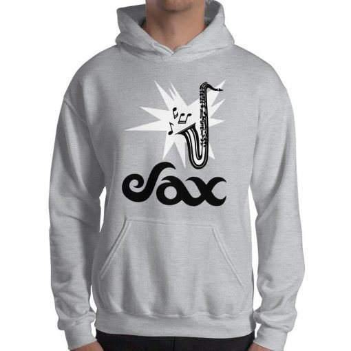Sax Gildan 18500 Heavy Blend Hooded Sweatshirt Front Mens Sport Grey