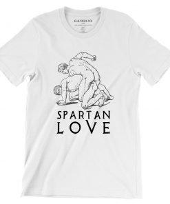 Spartan Love Bella+Canvas 3001 Unisex T-Shirt Front Wrinckled Blak on White