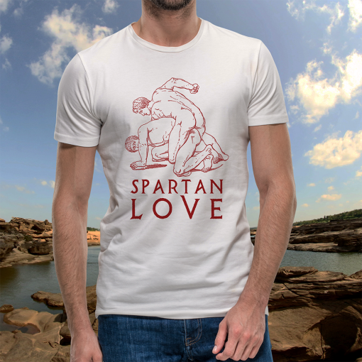 Spartan Love Bella+Canvas 3001 Unisex T-Shirt Front Mens Red on White