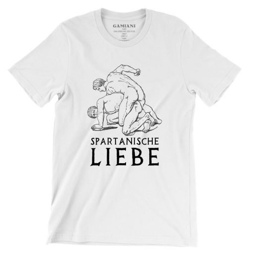 Spartanische Liebe Bella+Canvas 3001 Unisex T-Shirt Front Wrinckled Black on White