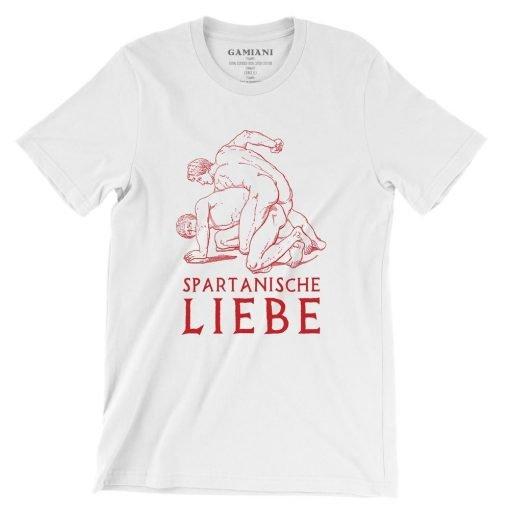 Spartanische Liebe Bella+Canvas 3001 Unisex T-Shirt Front Wrinckled Red on White
