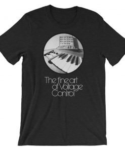 The fine art of Voltage Control Bella+Canvas 3001 Unisex T-Shirt Front Wrinkled Black Heather