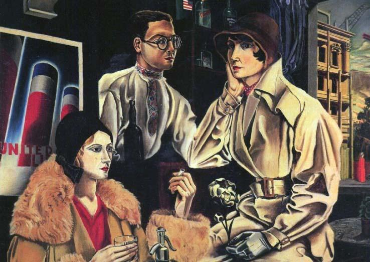 Self-portrait of imaginist painter Vinicio Paladini with some friends.