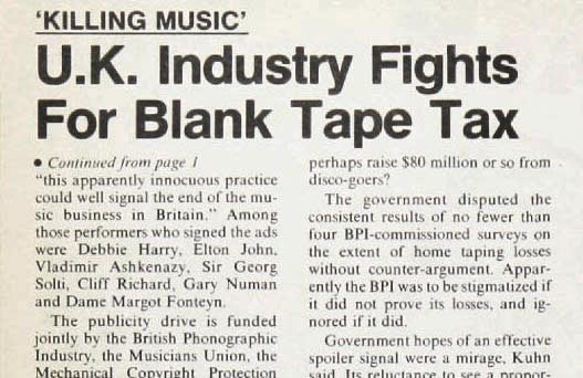 "News magazine clip announcing the ""Home taping is killing music-and it's illegal"" campaign."